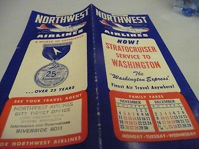 Northwest Airlines System Timetable - Dec 1, 1951