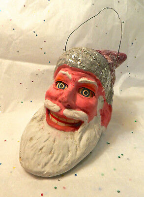 Antique / Vintage German Christmas Santa Lantern Candle Holder Candy Container