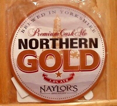 """A """"naylor's Brewery"""" Abv 5.0% """"northern Gold"""" Pump Clip Front & Beer Notes - New"""
