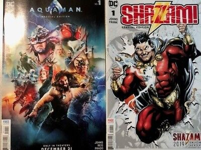 Aquaman #1 & Shazam #1 2018 Nycc Exclusives - Limited Editions - Nm Or Better