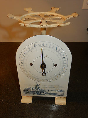 Antique Enamel & Cast Metal Delft Windmill Blue & White Kilo Scale