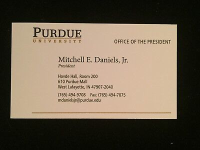 MITCH DANIELS autograph PURDUE President INDIANA GOVERNOR  2005-13 business card