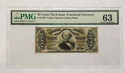 50 Cents Fractional Currency, Third Issue, Pmg Choice Uncirculated 63, Fr-1331