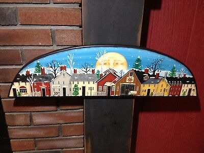 OOAK, New England Folk Art Winter Village Scene Wooden Door Topper