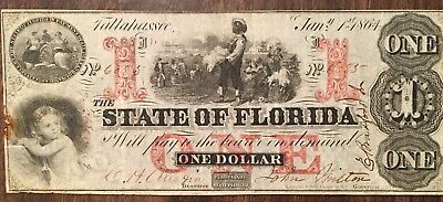 State of Florida Civil War Currency $1 One Dollar, Very Good Condition