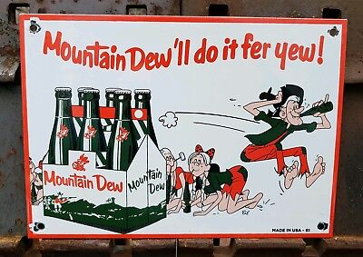 Vintage Mountain Dew Porcelain Sign, Soda Pop, Gas Station, Fountain Dated 1961