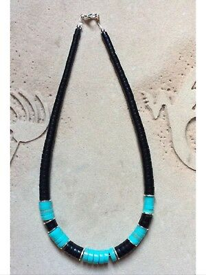 Native American Onyx And Turquoise Heishi Necklace