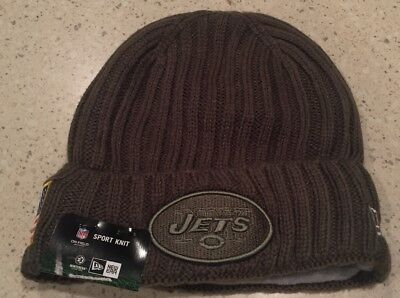 sports shoes 8aef1 26cb3 New York Jets New Era Salute To Service Sideline Knit Hat Beanie Army Green