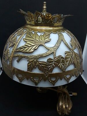 Vintage White Milk Glass Lamp Shade With Brass Ornate Overlay Electric Converter