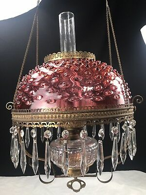 Antique Victorian Hanging Oil Lamp Cranberry Glass Hobnail Shade Parlor Library