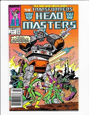 Transformers Headmasters #1 Ultra Rare Double Cover Error Vf+ Newsstand Marvel