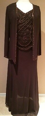 Mother of Bride Dress Formal Gown V-Neck Sleeves Jacket Beaded A-Line Brown L XL