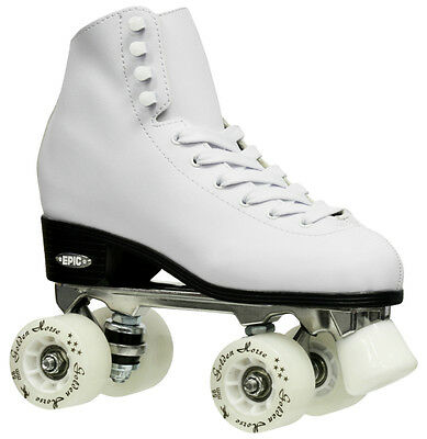 Epic Classic White High-Top Quad Roller Skates w/ White LED Light Up Wheels