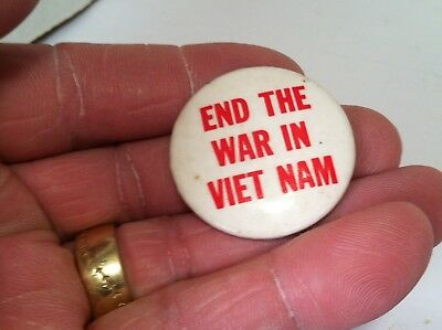 """vintage """"End the War in Viet Nam"""" white and red protest pinback button"""