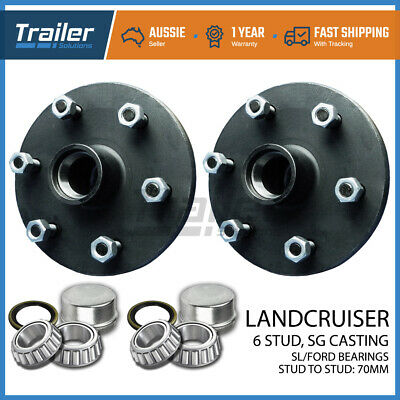 pair 6 stud trailer hubs 6/139.7 with Ford SL bearings. SG CASTING!!!