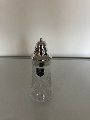 "Very Nice Edinburgh Crystal And Silver Plated Sugar Shaker 6.5"" Tall"