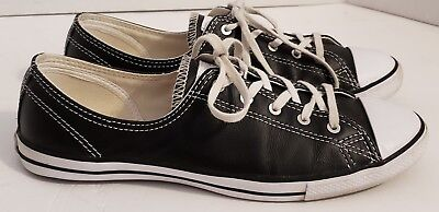 83fca19f15f4 Women s Converse All Star Chuck Taylor Fancy Ox Black Leather Sneakers Shoes  8