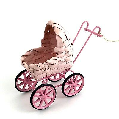 "Pink Baby Doll Buggy Ornament Christmas Wicker 1980's Vtg 4"" Tall Old Fashion"