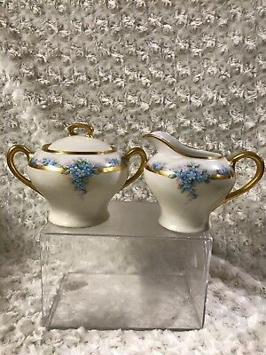 ANTIQUE SILESIA SUGAR AND CREAMER SET Numbered Gold Trimmed!