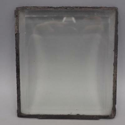 "Antique Beveled Leaded Glass Window Panel 5""x5-5/8"""
