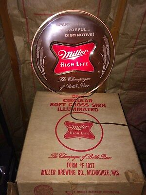 Vintage Miller High Life Beer Sign Circular Lighted Milwaukee WI NOS With box!!