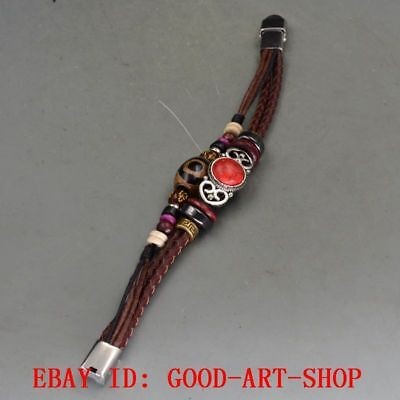 Handmade Multilayers Brown Leather Tianzhu Agate Beads Red Turquoise Bracelet 42