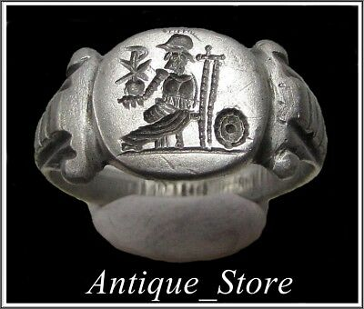 **  VICTORIA holding CHI-RHO **Ancient Silver Roman Ring **AMAZING **