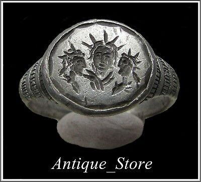 ** SOL - THREE HEADS **Ancient Silver Roman Ring **AMAZING **