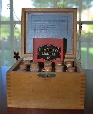 Antique Pharmacy Medicine Humphrey's Family Case Of Homeopathic Remedies
