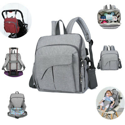New Fashion Baby Diaper Mommy Bag Backpack Nappy Changing Pad Maternity Gray