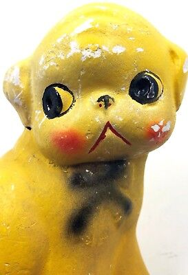 """Vintage Sad Faced Dog Yellow Chalk Ware Carnival Prize 5"""" Pink Cheeks Red Mouth"""