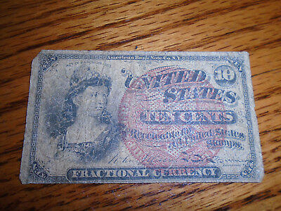 Civil War Period Act Of 1863 US Ten Cent Fractional Currency Note Rough Cond.