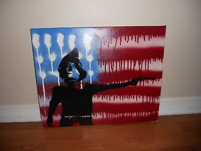 Original Painting by - Ghost - American Flag - Scare Crow - Holding Gun 20x16