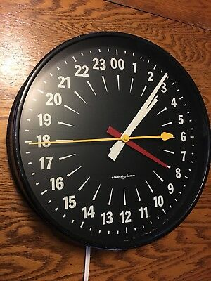"""Vintage 12"""" """"Electric Time"""" Electric Clock w/ 24 Hr Dial, Military, ZULU Time"""