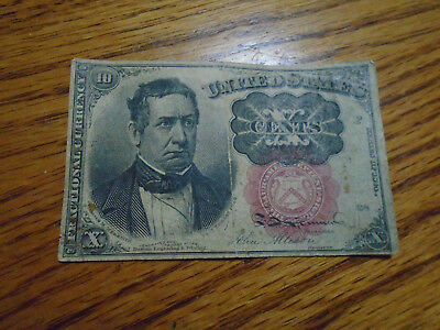 1864 Series 1874 10 Cent Fractional Currency Paper Money Red Seal Note