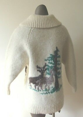 UNISEX Vintage Mary Maxim (cowichan) Sweater with Deer/ Trees