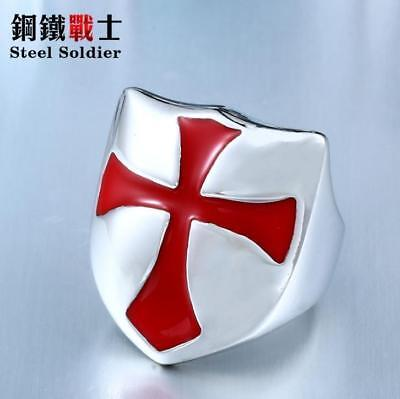 Fashion Vintage Gothic Stainless steel Ordre du Temple Ring - Crosee Ring 12#