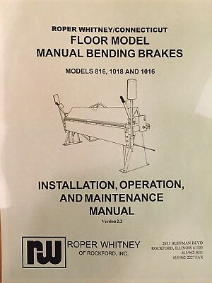 Roper Whitney Brake Cornice 816, 1018, 1016 Manual