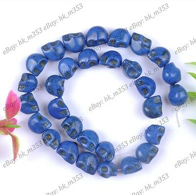 40Pcs Dark Blue Howlite Turquoise Carved Skull Loose Spacer Beads Jewelry 10x8MM