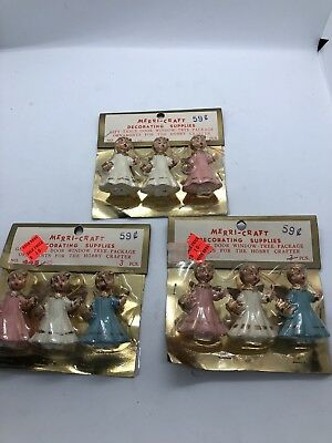 VTG Merri-Craft Plastic Christmas Angel Miniature Figures Hong Kong MIP