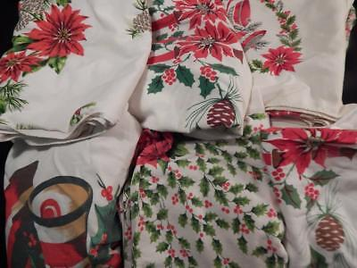 LG LOT Cotton Blend CHRISTMAS TABLECLOTHS California Handprint Misc Brands Colle
