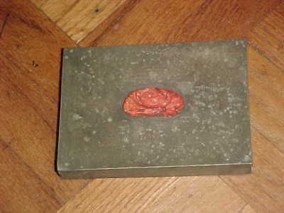 VINTAGE JAPANESE YAMANAKA PEWTER BOX w/ FLORAL CORAL CARVING JAPAN , CARD BOX