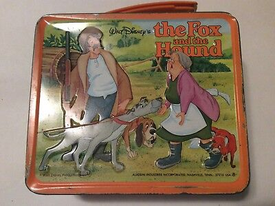 Walt Disney The Fox And The Hound Metal Lunchbox With Thermos