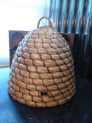 Vintage French Style Woven Wicker Straw Bee Skep Garden Decor