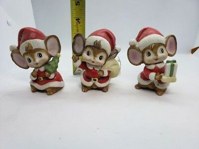 Vintage Homco Set of 3 Christmas Mice Santa Mouse Home Interiors Holiday St Nick