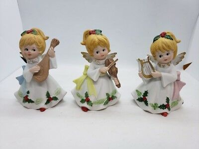 Vintage Homco Set of 3 Christmas Musical Angels Home Interiors Holiday Figurines