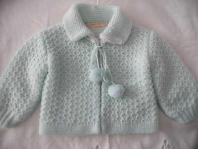 VINTAGE RENZO ITALY MINT GREEN LINED KNIT CARDIGAN SWEATER 0-3-6 mo ?  doll baby