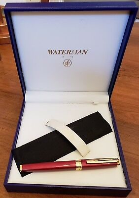In the Case Waterman Exception Slimline Red w/ Gold Trim Rollerball Pen