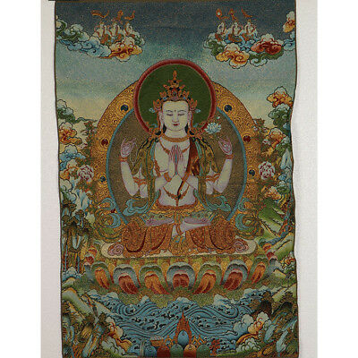 Tibet Collectable Silk Hand Painted Four walls Kwan-yin Thangka