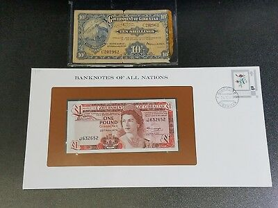 Lot of 2 Banknotes of Gibraltar 1975 One Pound w/Rare 10 Shillings 1937  #30C